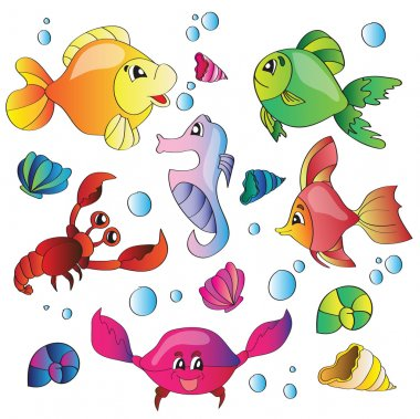 Vector set of images of the marine life