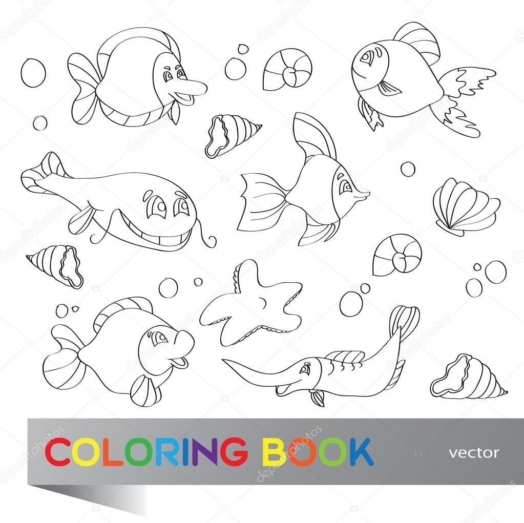 libro para colorear - vida marina — Archivo Imágenes Vectoriales ...