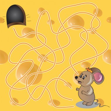 Vector Illustration of  Maze or Labyrinth Game with Funny Mouse
