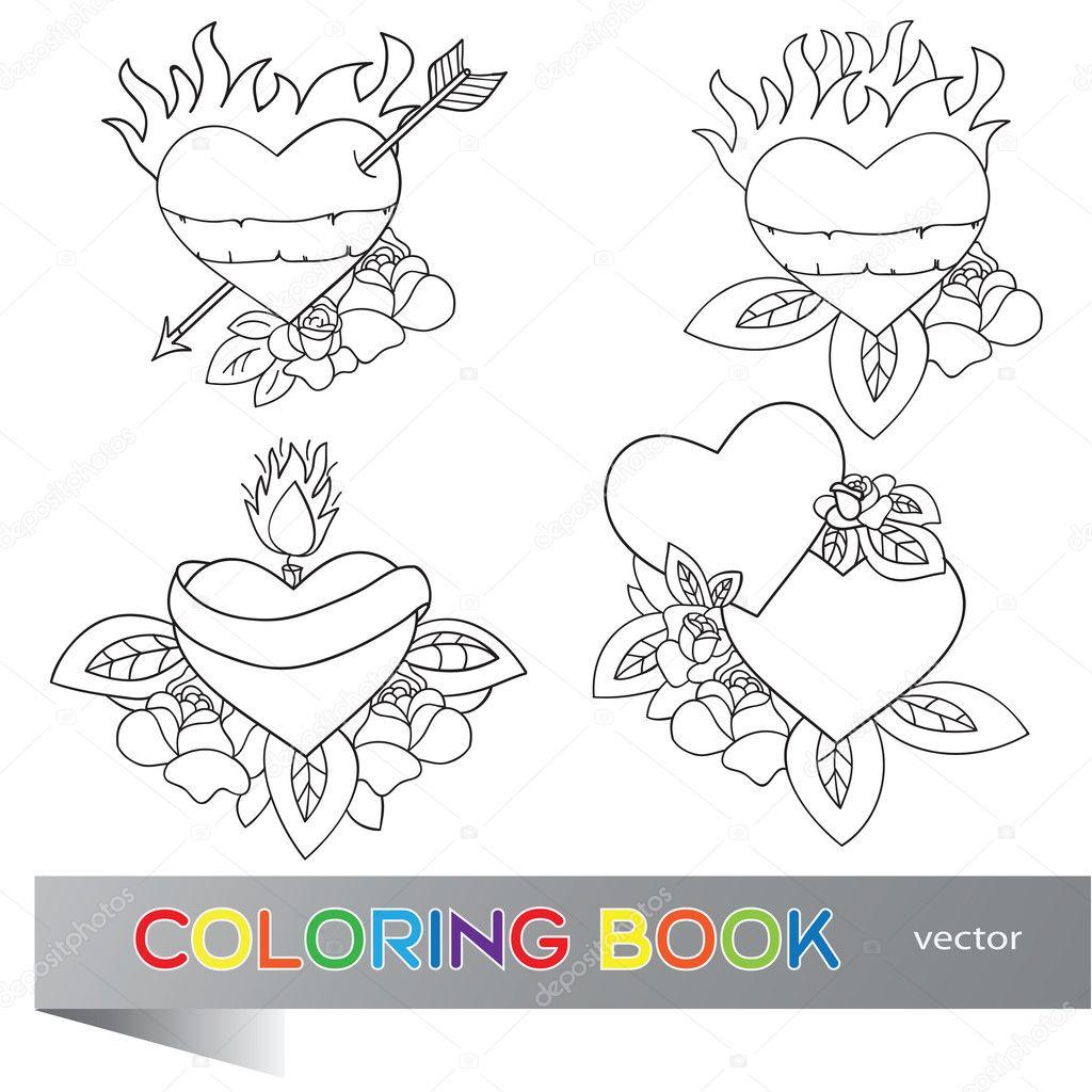 diseño del tatuaje del corazón - libro para colorear — Archivo ...