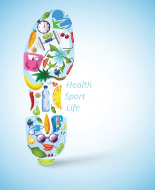Footprint of sport shoe, built of healthy lifestyle elements