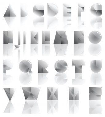 Metal cutted and folded alphabet