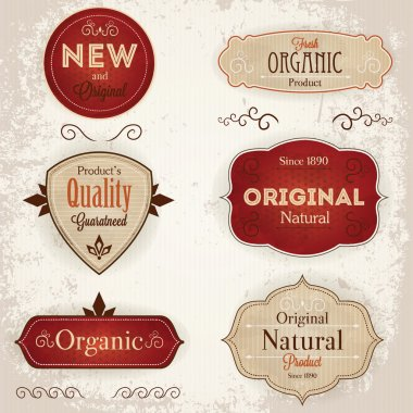 Set of vintage labels with ecological thematics - natural, organic guarantee labels. EPS10 stock vector