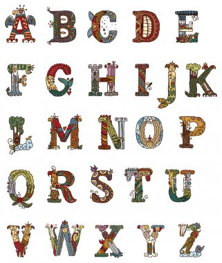 Illuminated letters alphabet in medieval style