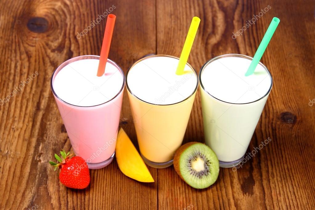 Strawberry, mango and kiwi soft drink, smoothie