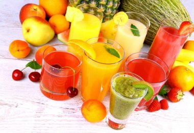Juice with kiwi, apricot, cherry, watermelon, tangerine and pear