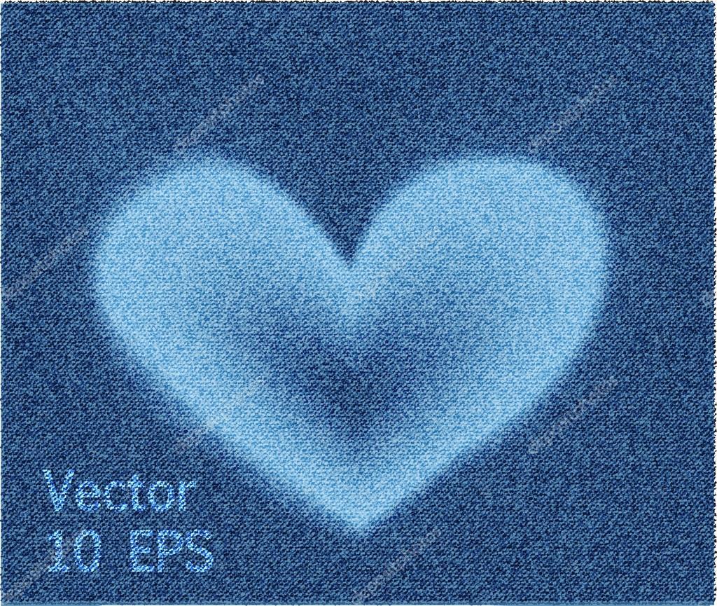 b4305003c Textura de mezclilla jeans corazón — Archivo Imágenes Vectoriales ...