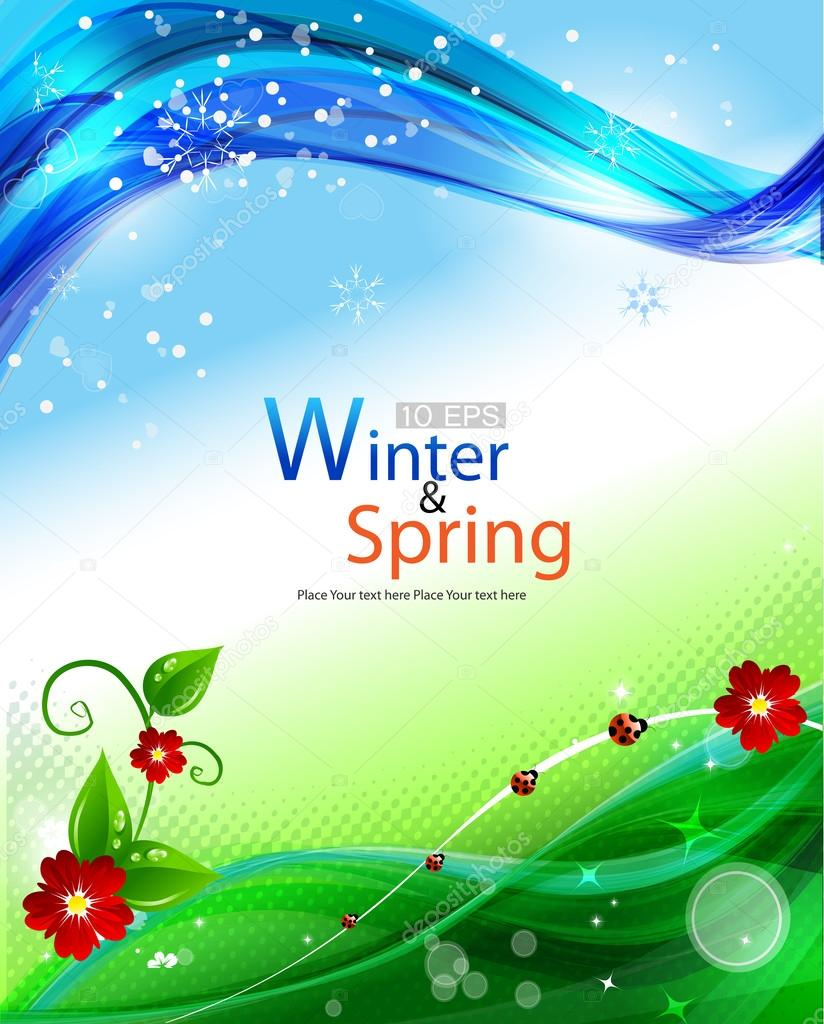 Vector spring and winter background