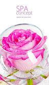 Fotografie Meersalz, Rose, Seife und eine Kerze