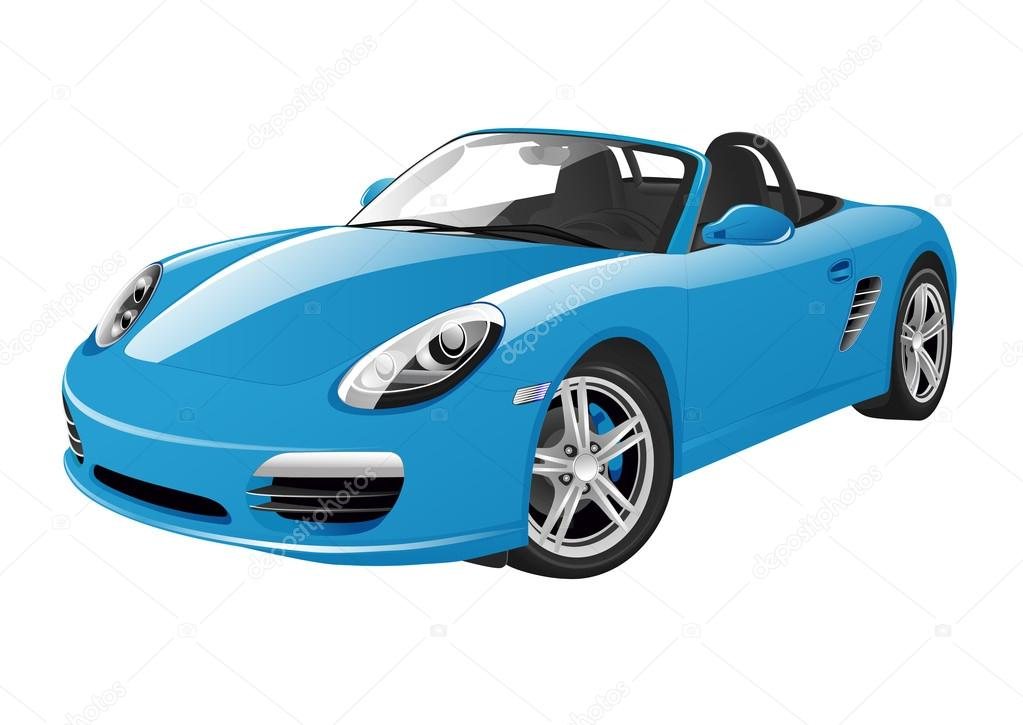 Blue Sport Car On A White Background. U2014 Vector By Jonatan08