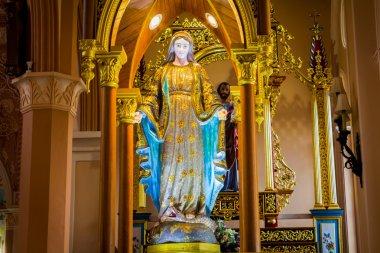 Virgin Mary statue in church.