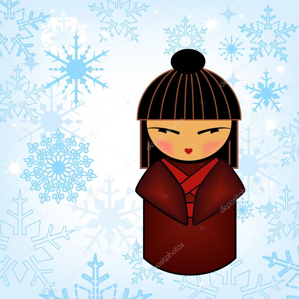 Bambola Giapponese Di Kokeshi Orientali Sopra I Fiocchi Di Neve