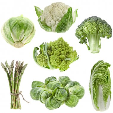 Collection green cabbage isolated on white background