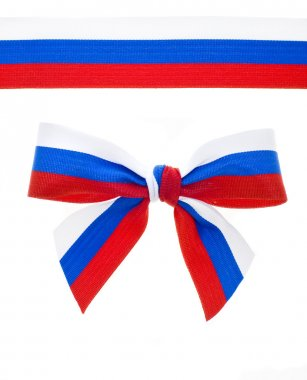 Ribbon and bow of the Russian flag isolated