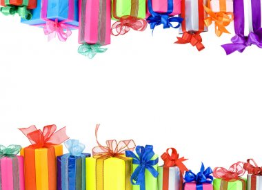 Colorful gifts boxes with ribbons bows, card on white