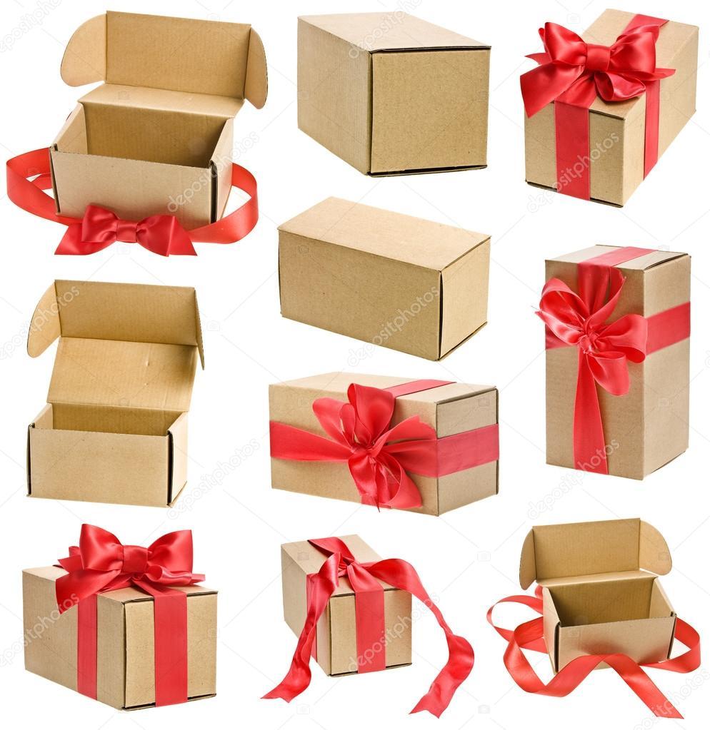 coleccin de cajas regalo con lazos de cinta roja aislados en blanco u foto de madllen