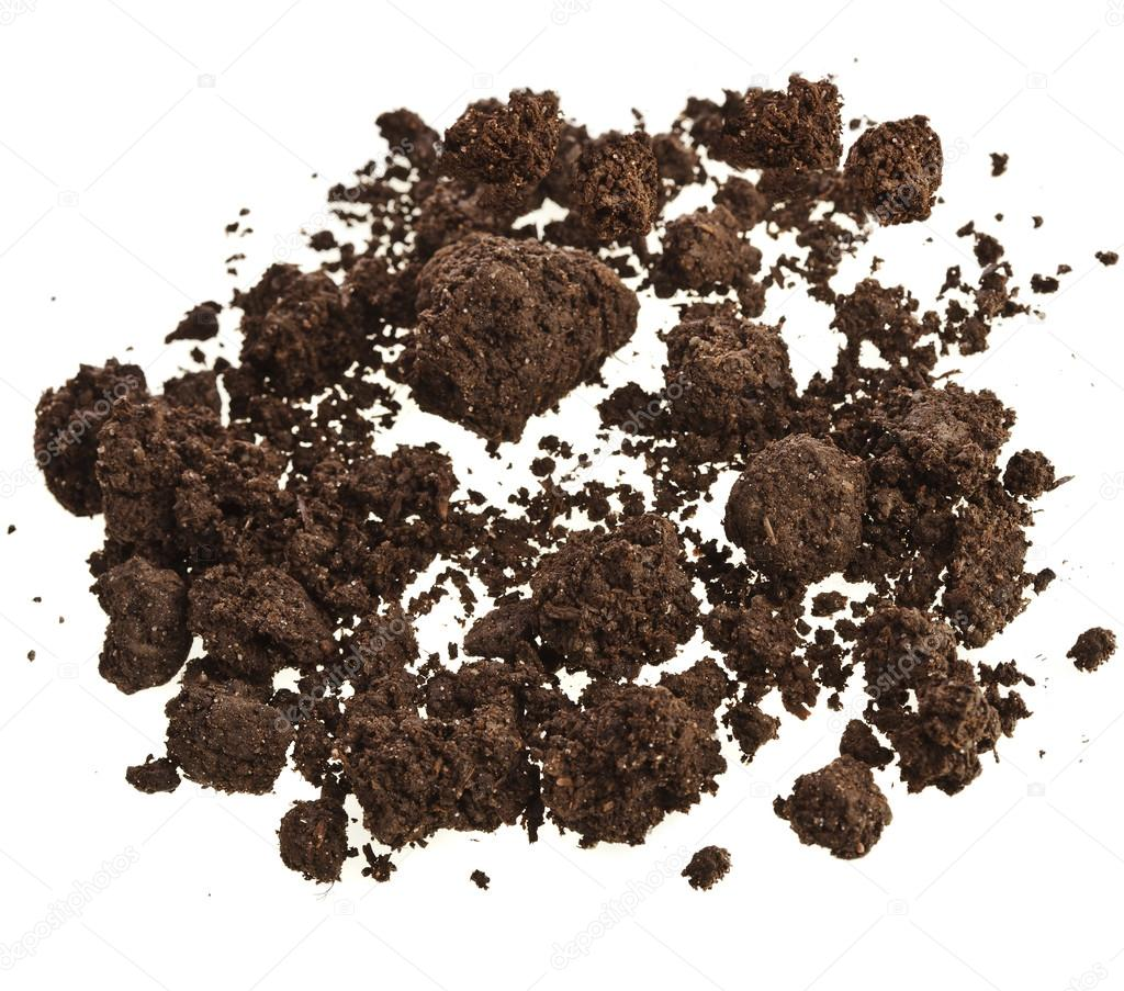 Pile of soil humus isolated on white