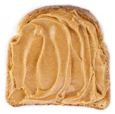 Peanut butter sandwich on white background