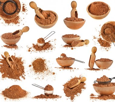 Collection of cocoa powder isolated on white background