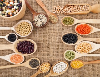 Various food ingredients: beans, legumes, peas, lentils in wooden spoon on the sackcloth background