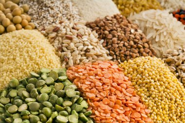 Variation of lentils, beans, peas, grain, groats, soybeans, legumes in wooden box