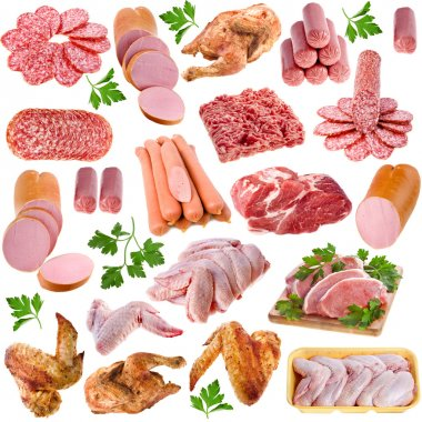 Meat products collection isolated on white background