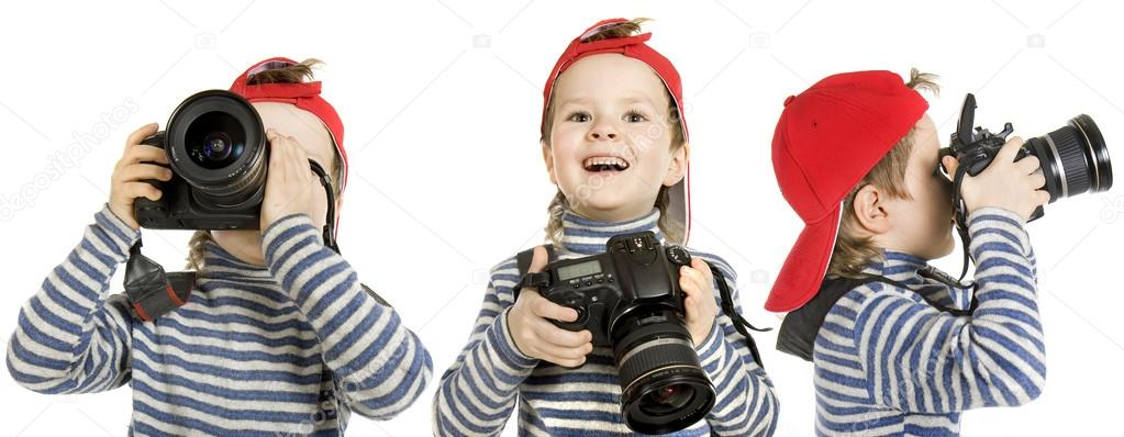 Boy with camera, isolated on a white background