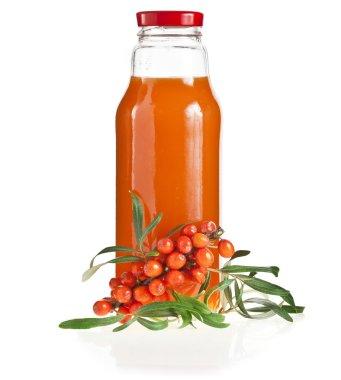 Sea buckthorn berries juice on the bottle
