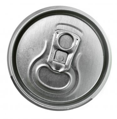 Aluminum tin can and easy-open close up, top view