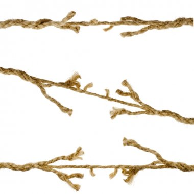 Breaking torn damaged ropes on white background