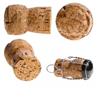Cork-stopper of champagne on white background