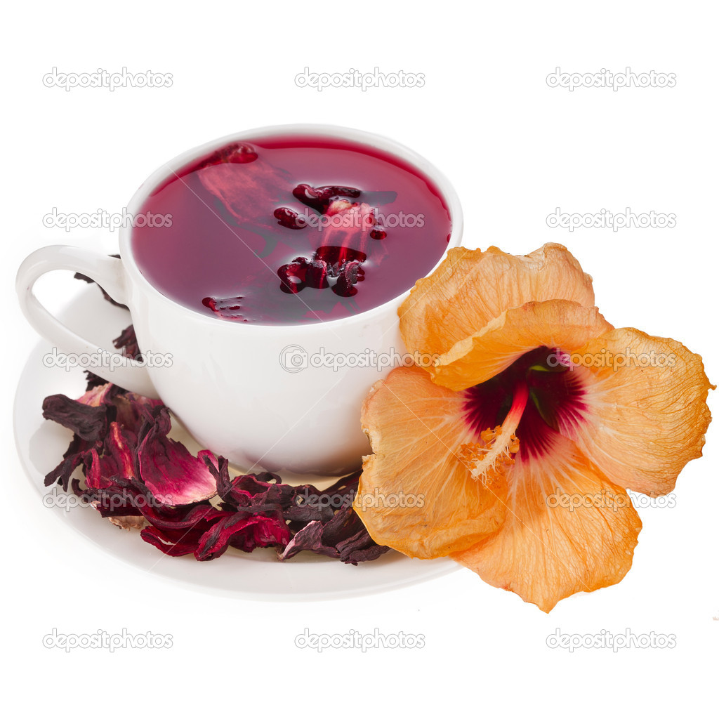 Hibiscus flower tea in tea cup isolated on white background stock hibiscus flower tea in tea cup isolated on white background stock photo izmirmasajfo