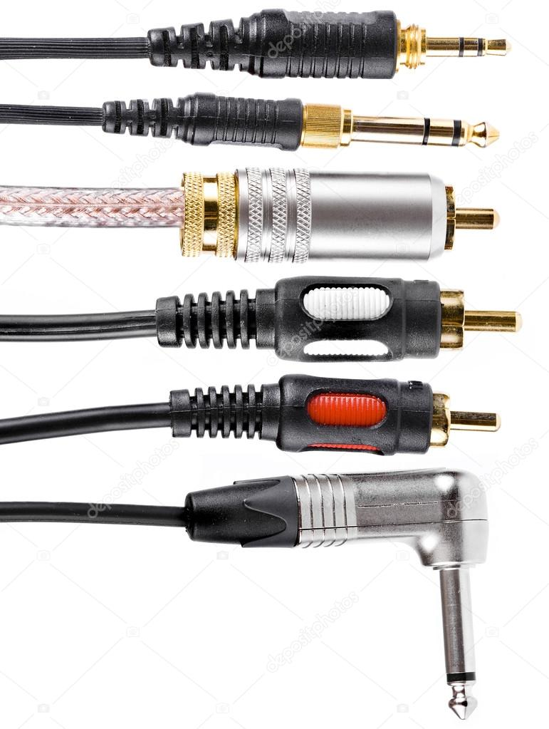 Different types of audio cable connectors, isolated on a white ...