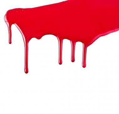 Red paint dripping isolated on white background