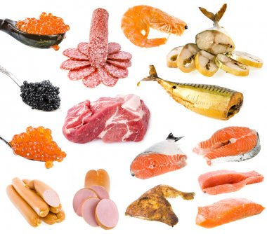 Collection of meat and fish products isolated on white background