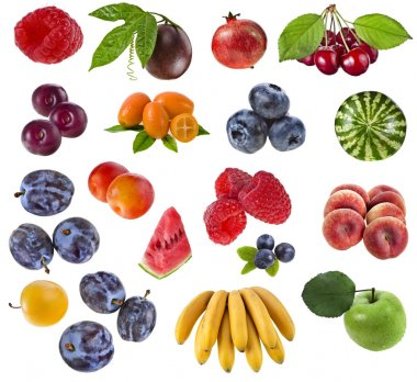 Collection of berries and fruits isolated on white