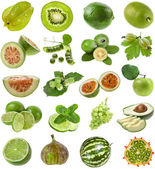 Fotografie Green color fresh fruits and berries isolated on white