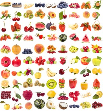 Collection of fresh juicy fruits and berries on white background