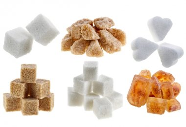 Collection different types of sugar isolated