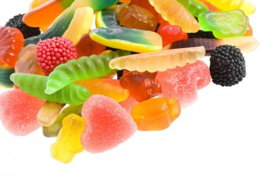 An assortment of colorful jelly candy