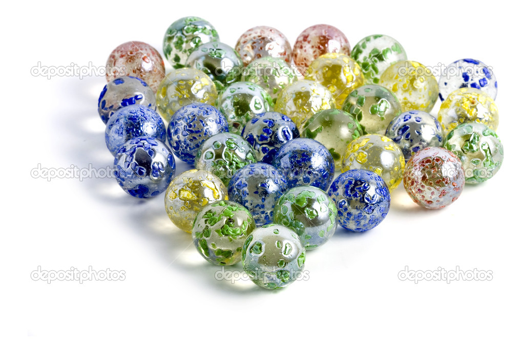Decorative Colored Glass Balls Marbles On A White Stock Photo