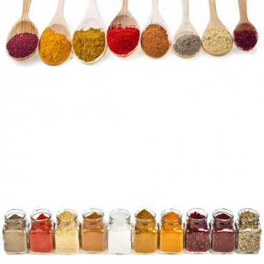 Border frame of colorful powder spices