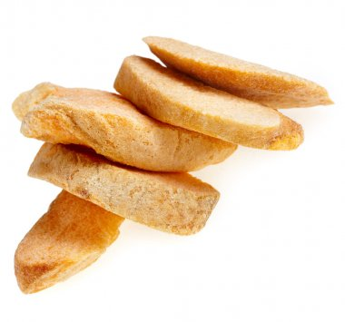Closeup shot of dried apricot fruit slices chips, isolated on a white background