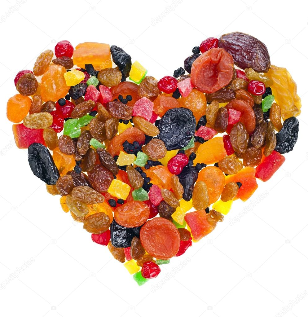 Mix dried fruits heart shape collection on white