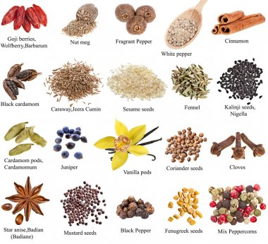 Set of spices with names