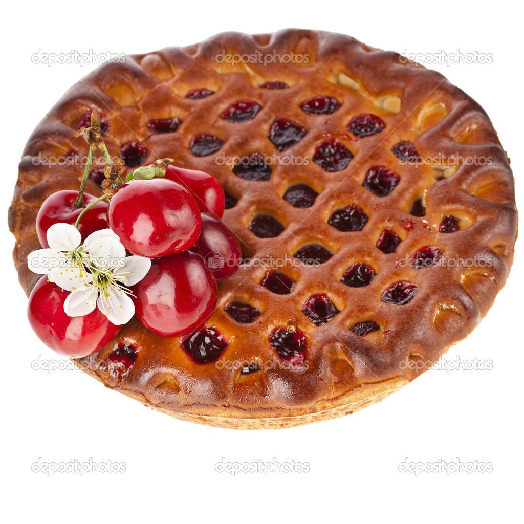 pastel de cereza de la torta aislado sobre fondo blanco — Fotos de ...