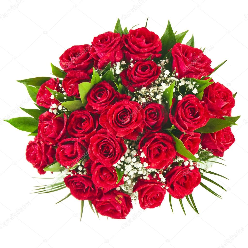 Big bunch bouquet of red roses isolated on the white background