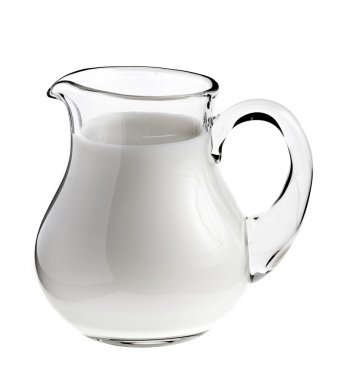 Milk in pitcher isolated on white