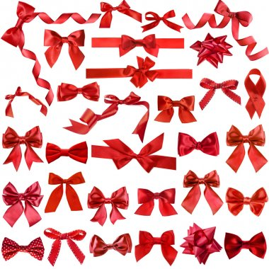 Big collection set of red gift ribbon bows
