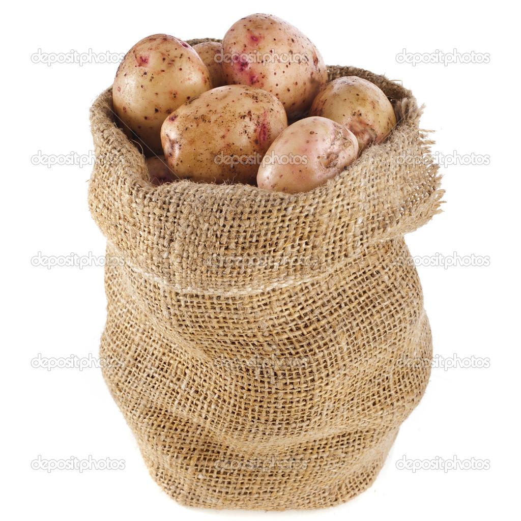 patatas en bolsa de saco de arpillera aislado en blanco u foto de stock